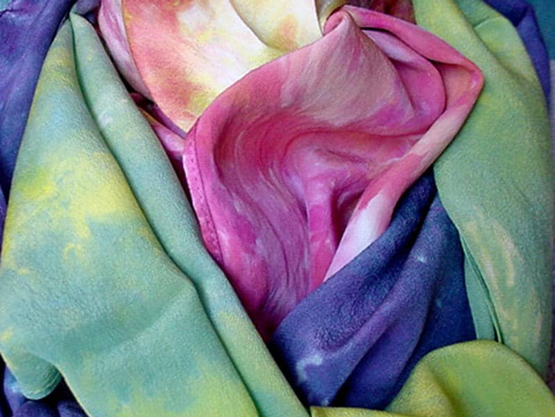 Marty Sewell, ice dyed scarves